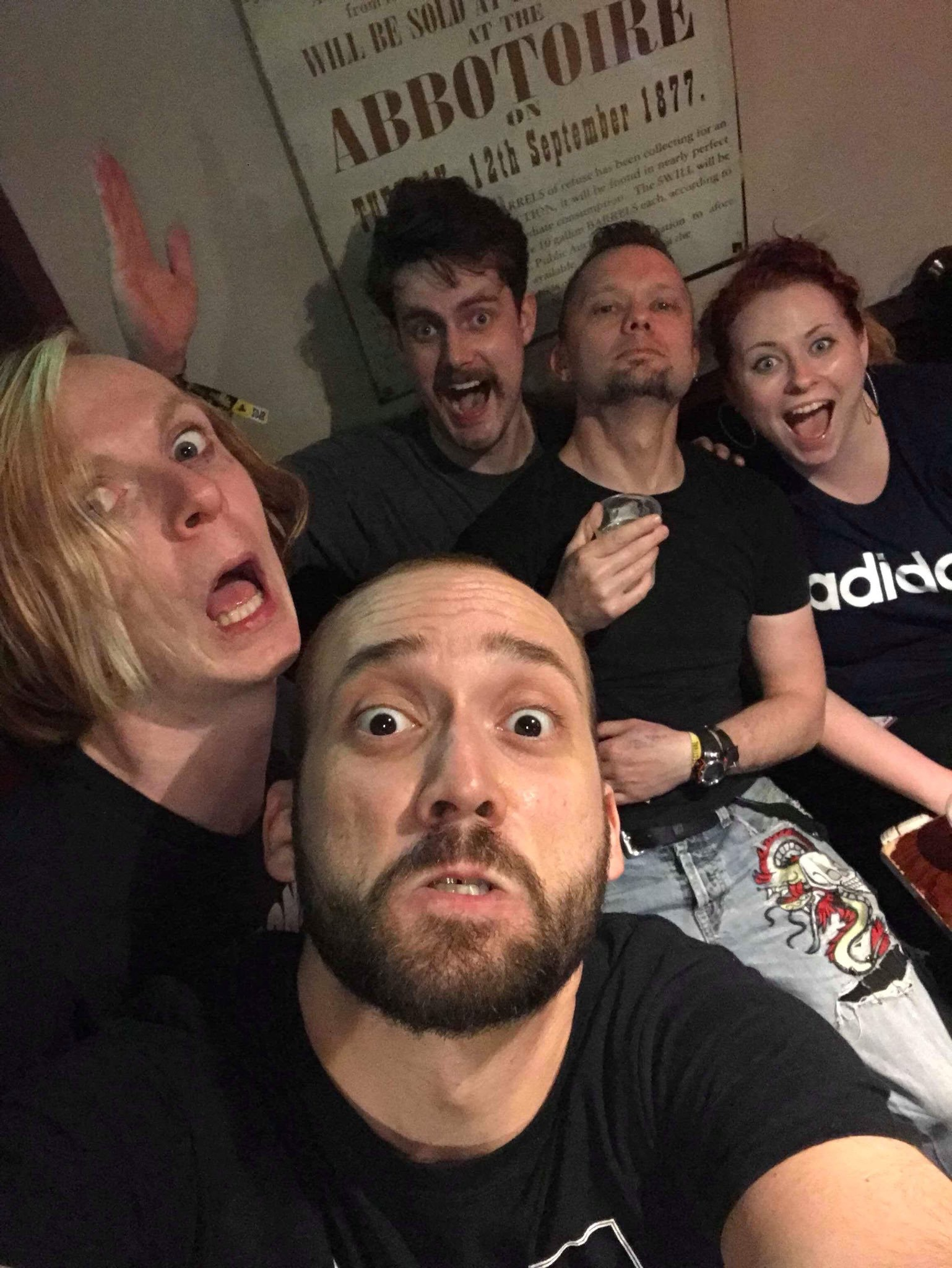 Last comics standing at 2AM. From left: red Redmond (Scarlet SoHandsome), Evan Desmaerais, James meeha, Amy Gledhill and Sully O'Sullivan
